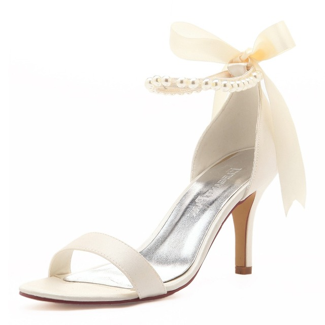 Ep11053n Ivory White Women Shoes High Heels P Toe Party Bridal Sandals Pearls Ankle Straps Satin