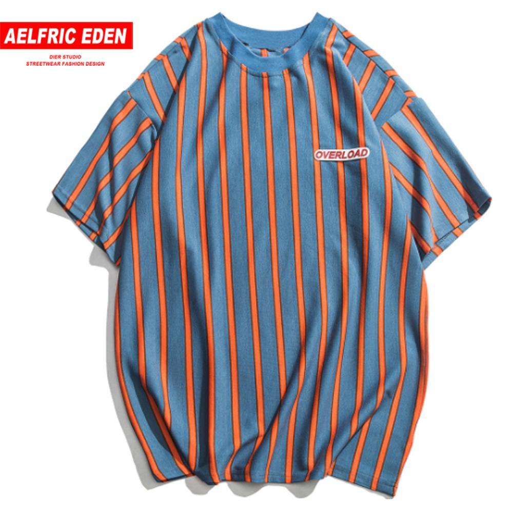 Aelfric Eden Stripe Casual Smooth Men   T     Shirts   2019 Summer Harajuku Hip Hop Short Sleeve Couple   T     Shirts   Streetwear Regular Tees