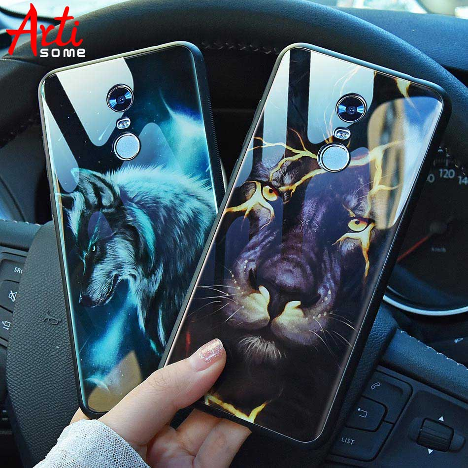 Artisome Case Xiaomi Redmi 5 Plus Case Glass Soft TPU Silicone Cartoon Pattern Phone Cases Cover For Redmi Note 5 5 Pro 4X Case