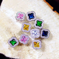 Fashion Cute Clover Shape Pink or Yellow Emerald Royal Blue Square CZ diamond Stone Pave Setting Stud Earrings Women Jewelry