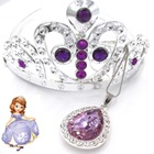 1set Baby Girls Gift Princess Sofia The First Purple Teardrop Amulet Pendant Chain Necklaces Sofia Tiara Crown Hair Clip Jewelry