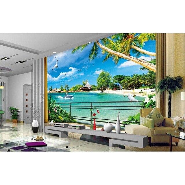 mediterranean style 3d beach murals wallpaper living room tv