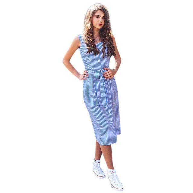 KANCOOLD dress Women's Party Blue Striped Sleeveless Dress Sexy Summer Bandage Single-Breasted dress women 2018jul20             5
