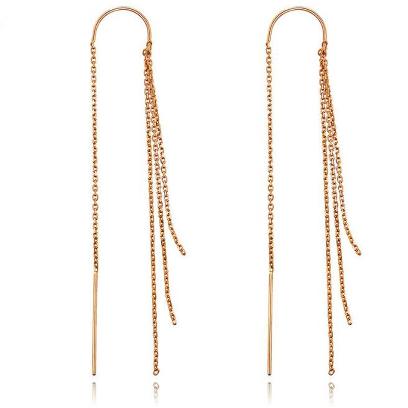 2018 Fashion 18K Gold AU750 Earrings Exaggerated Tassel Earrings Four Lines Long Drop Water Design Women Ear Jewelry Wholesale