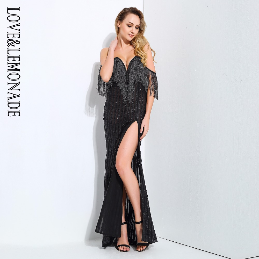 Love Lemonade Black Stripes Deep V Collar Tassels Decorated Long Dresses  LM0665-in Dresses from Women s Clothing on Aliexpress.com  36e1660a1ede