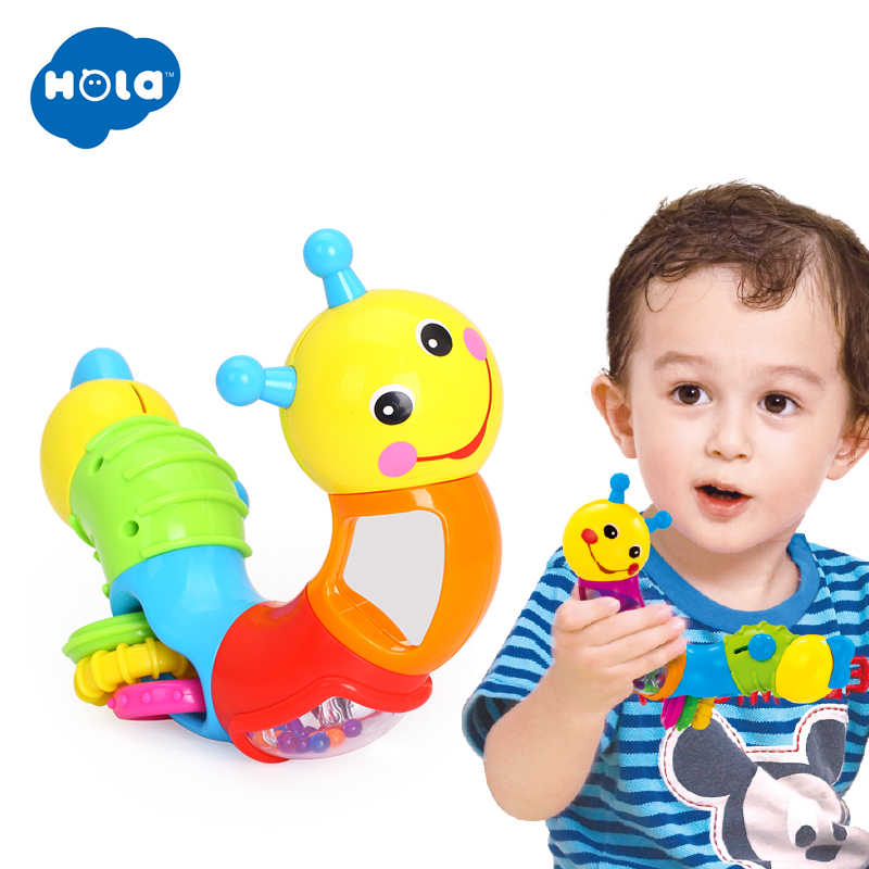 Hola 786B Anak-anak Pendidikan Mainan Bayi Rattle Indah Worm Mainan Memasukkan Teka-teki Memutar Mainan untuk Bayi Jari Fleksibel Pelatihan