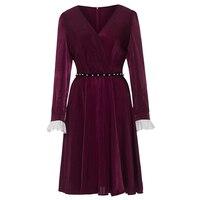 Rosetic Gothic Dress Dark Red Women Dress Ruffles Sashes V Neck Retro Dress Fashion Party Elegant Vintage Goth Dresses