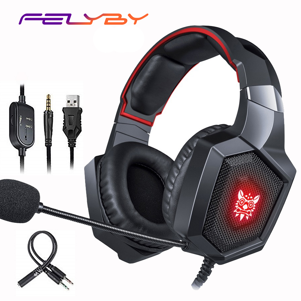 Felyby Gaming Headset Stereo Sound Headphones With Mic Led