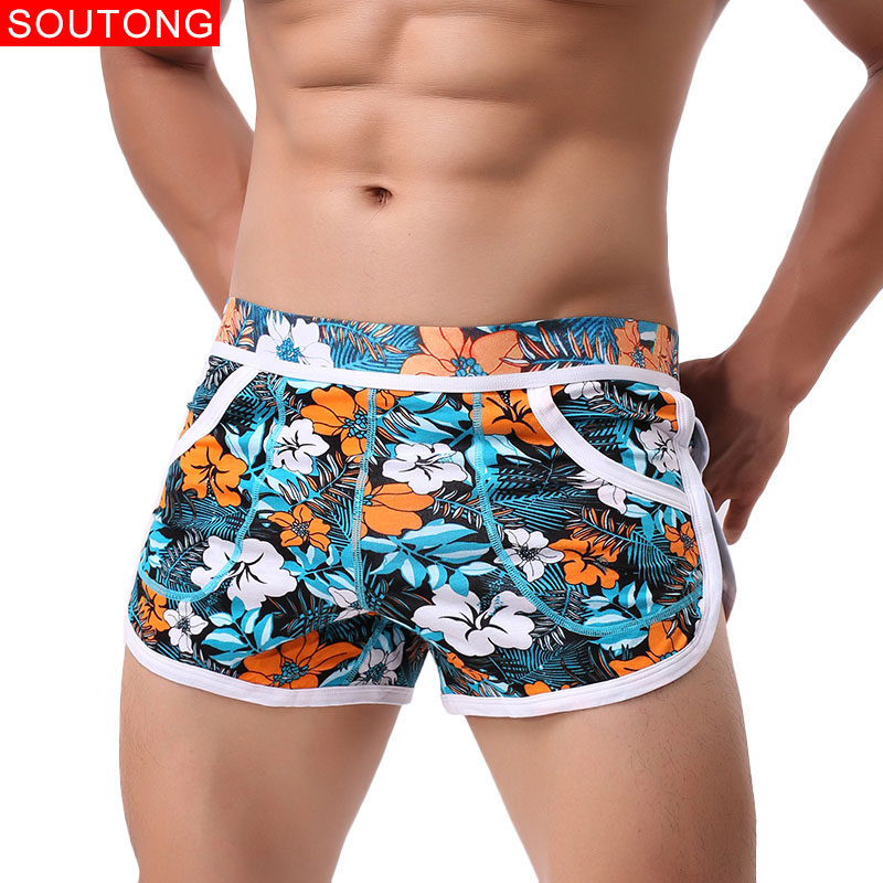 Soutong Men Boxers Shorts Underwear Men Home Underpants Printed Men Boxer Cuecas Cotton Soft Male Panties Homme Underwear Men