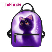 Thikin Sailor Moon Cute Cat Backpack for Teen Girls Women Mochila PU Mini  Leather Schoolbag Student Preppy Style Bag