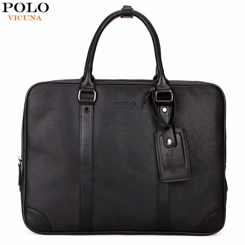 1b920679af VICUNA POLO Casual Business Man Handbag Laptop Bags Brand Leather Men  Briefcase Solid Simple Men s Shoulder Bag Business Man Bag