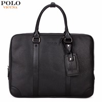 VICUNA POLO Casual Business Man Handbag Laptop Bags Brand Leather Men Briefcase Solid Simple Men S