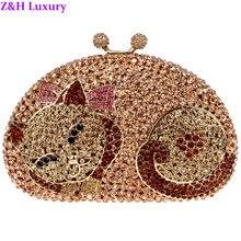 Frauen Luxus Pussy Cat Stil Abendtaschen Volle Kristalle Rosa Ton Mehrere Farben Strass Zink-legierung Bridal Party Kupplungen