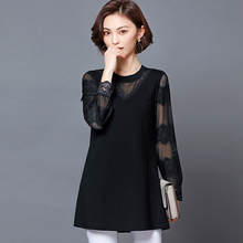 цена Spring and summer new style large size L-5XL women's clothing Temperament lace mesh gauze stitching top