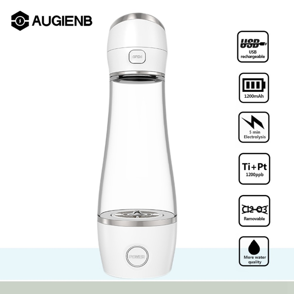 Augienb 2 Modes Fast Electrolysis Hydrogen Rich Water Generator Water lonizer USB Charging Health Hydrogen Rich Water Bottle new arrival hydrogen generator hydrogen rich water machine hydrogen generating maker water filters ionizer 2 0l 100 240v 5w hot