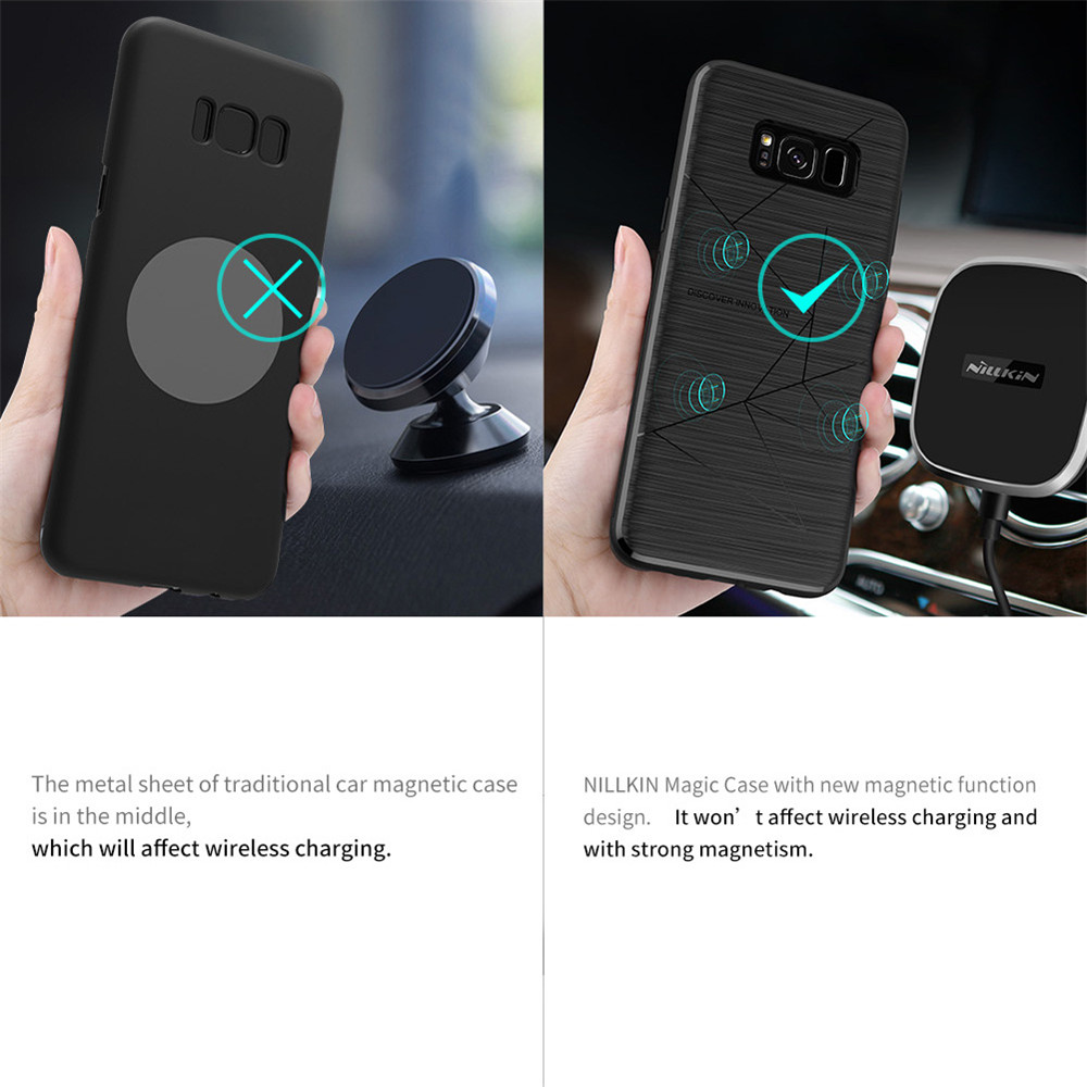 new concept 3ea0b 1c979 US $33.89 |NILLKIN Car Magnetic Wireless Charger II + Magic Case Magnetic  Holder Back Cover For Samsung Galaxy S8 QI Wireless Charging-in Wireless ...
