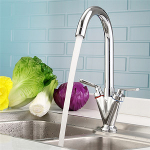 Image 2 - Xueqin Chrome Kitchen Bathroom Sink Faucet Double handle Faucets Deck Mounted Mixer Hot And Cold Water Tap Rotation Spout