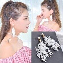New Design Black White Lace Earrings for Women Long Tassel Drop Earring Bohemian Fringed Statement Earings Fashion Jewelry 2019
