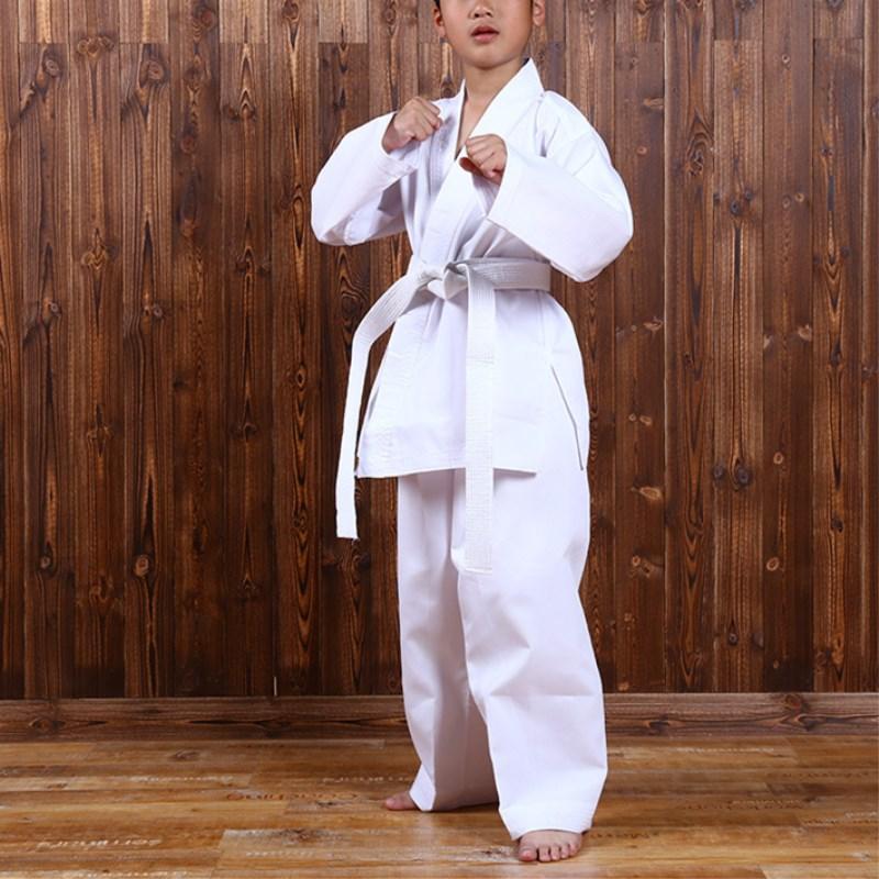 цена на White Karate Uniform with Belt Light Weight Elastic Waistband & Drawstring for Children Student Breathable Training Suit Sport