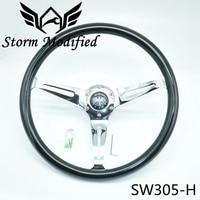 Black Classic Real Mahogany Wood Steering Wheel Spokes slim waist 380mm 15 inch Car Steering Wheel For Antique Car SW305 H