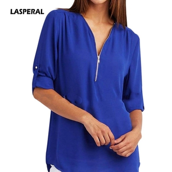 LASPERAL 2018 Spring Summer Chiffon Blouse Women Shirts Long Sleeve Casual V-neck Solid Zipper Blusas Female Tops Plus Size 5XL