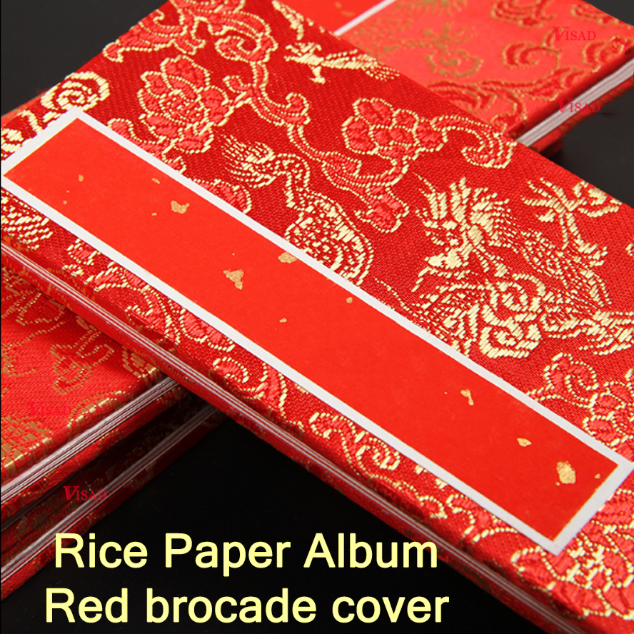 Red Chinese Rice Paper Album Book Brocade Cover Art Supply Wedding ...
