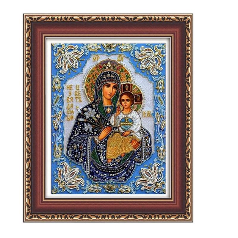 5D DIY Diamond Mosaic Painting Russia Human Virgin and Child Diamond Embroidery Classic Style Round Rhinestone Painting