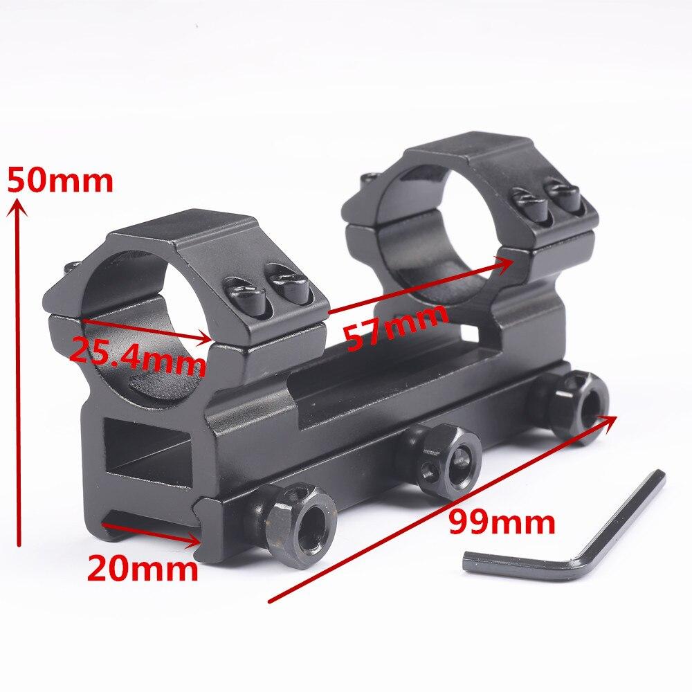 Caza 25.4mm doble alcance Anillos montaje más alto para el anillo de cola de Milano 20mm Weaver Rail Caza riflescope caza Accesorios