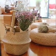 Natura тканый бытовой складной горшок для хранения садовая Цветочная ваза пузатая корзина подвесная корзина с ручкой для хранения