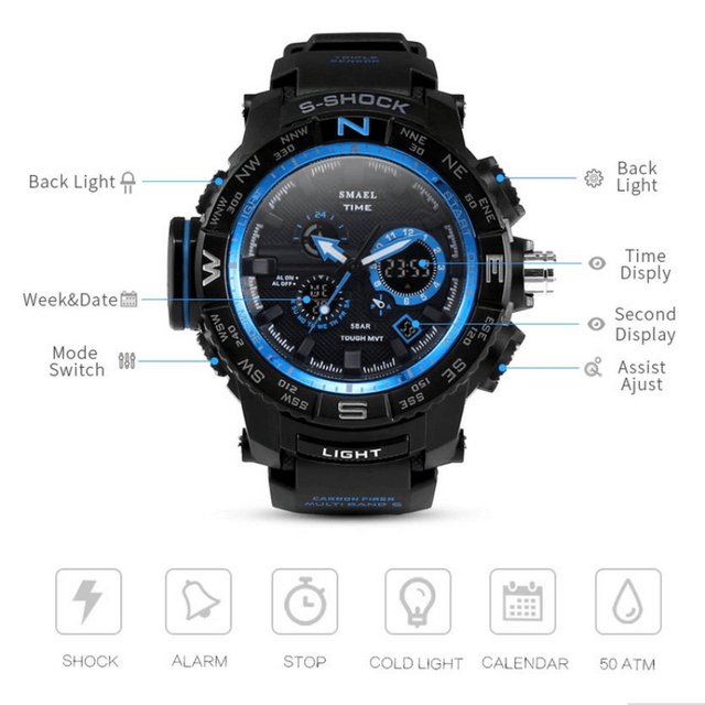 Men's sports watches male fashion casual waterproof quartz LED digital military electronic watch men clock relogio masculino