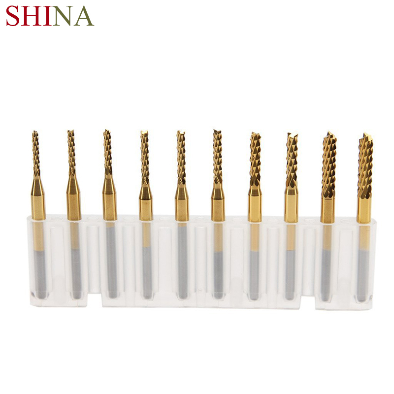 10PCS Titanium Engraving Bits Milling Cutters For Wood Carbide 1.5mm-3.175mm End Mill Knife CNC Rotary Burrs Set Engraver Tool 10pcs 1 2mm tungsten steel titanium coat carbide end mill engraving bits cnc pcb rotary burrs milling cutter drill bit