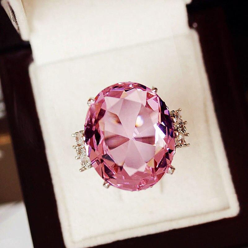אופנה מוגזמת חזק סופר גדול סגלגל ורוד מעוקב zirconia אבן טבעת 4 חודים הגדרת יוקרה נשים תלבושות המפלגה תכשיטים