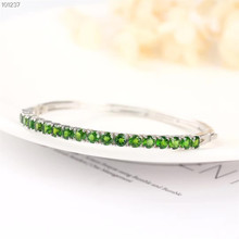 gemstone jewelry factory wholesale white gold 925 sterling silver natural green tourmaline adjustable bracelet for women chic rhinestone faux gemstone bracelet for women