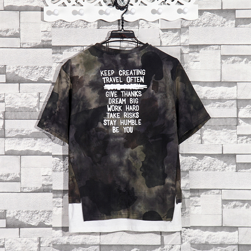 Summer New Fashion Retro Print Men T Shirt Camouflage Short-sleeved T-shirt Male Round Neck Loose Large Size T-shirt 12