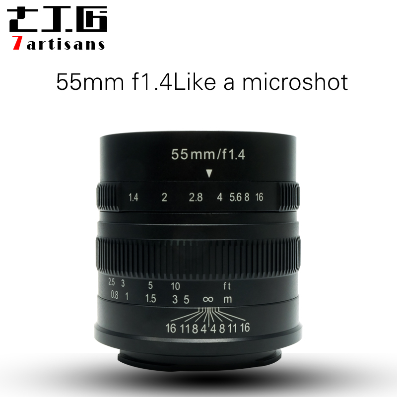 7artisans 55mm F1.4 Large Aperture Portrait Manual Focus Micro Camera Lens Fit for Canon eos-m Mount E-Mount Fuji FX-Amount