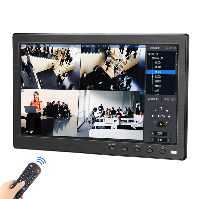 10.1 Inch LCD Full HD Monitor IPS 1920*1200 Display 2 Channel Video Input Color Screen With BNC/AV/VGA /HDMI Mini Small Monitor