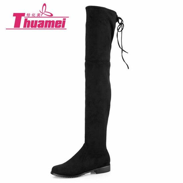 Ботинки с зауженным мысом пикантные Сапоги выше колена замшевые женские зимние сапоги модные женские зимние сапоги до бедра; женская обувь # y1163863f