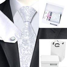 New Hot Mens Ties B-1169 Gray Floral Silk Necktie Hanky Cufflinks Gift Box Bag Sets Popular Ties For Men Wedding Business Party