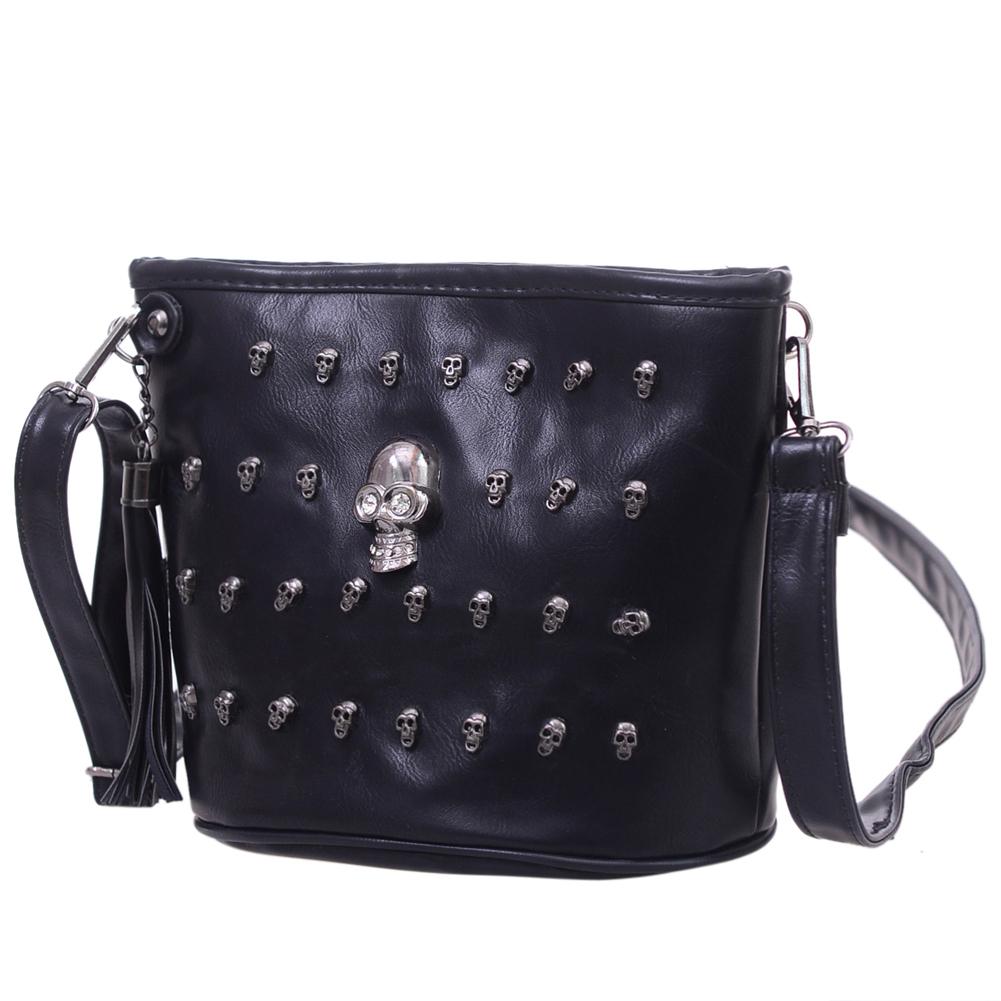 Skull Design Women Messenger Bags Handbags Shoulder Bags Satchel Clutch Girl Black Skull Crossbody Bag Bolsas Borse Feminina 2
