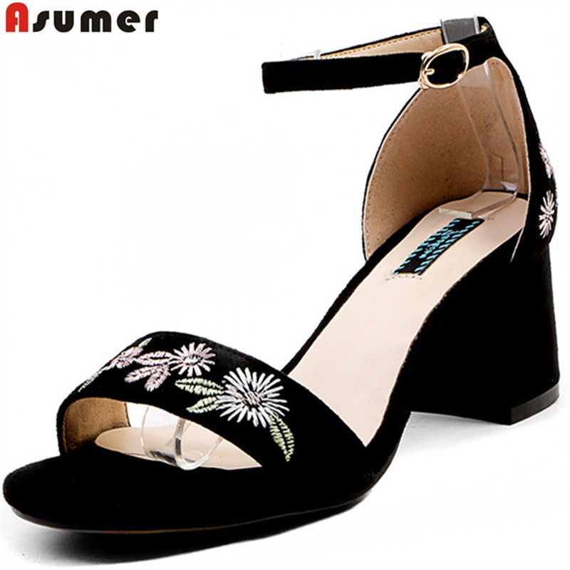 ASUMER black buckle elegant sandals women square heel 2018 summer new suede leather shoes high heels embroider wedding shoes цена