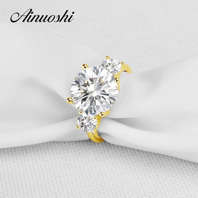 AINUOSHI 10K Solid Yellow Gold TC Collection Wedding Rings 4.75ct nscd Simulated Diamond Luxury Jewelry Engagement Femme Ring