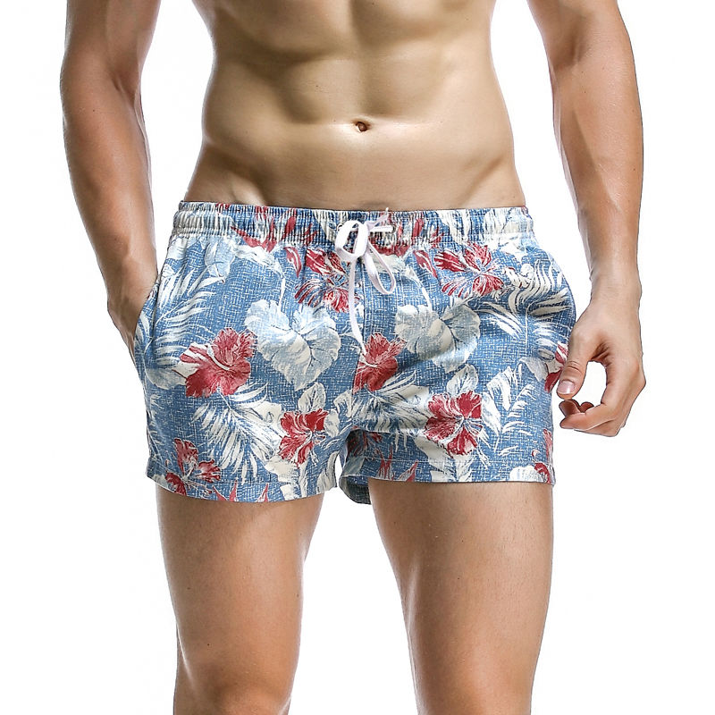 4e18058b4cb67 New Arrival Men's Light Blue Beach Shorts Red Flower Printed Surfing Shorts  Mens Quick Dry Beach