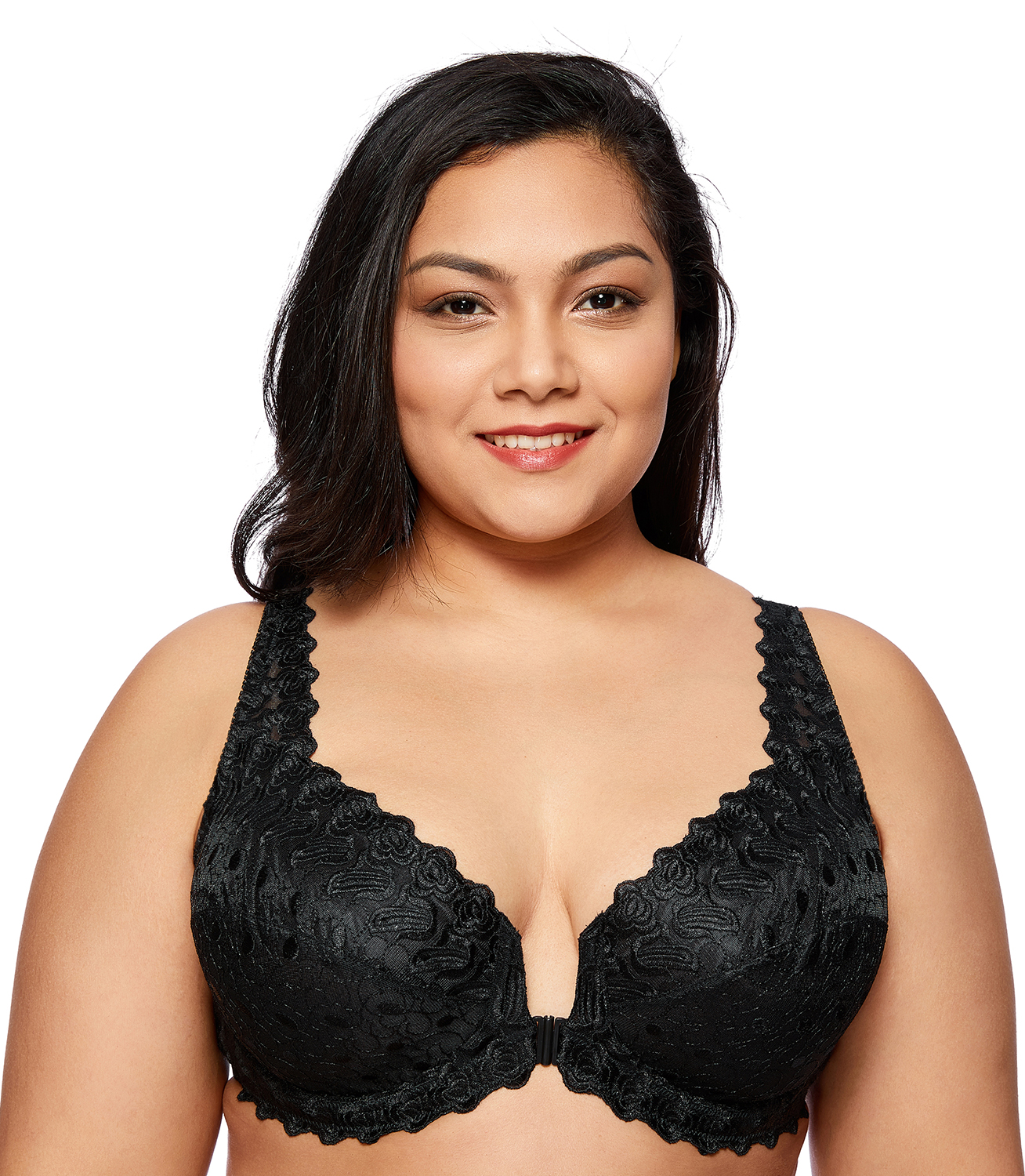 b2db243f3faba Women s Plus Size Support Lace Front Close Unlined Embroidered Underwired  Bra-in Bras from Underwear   Sleepwears on Aliexpress.com
