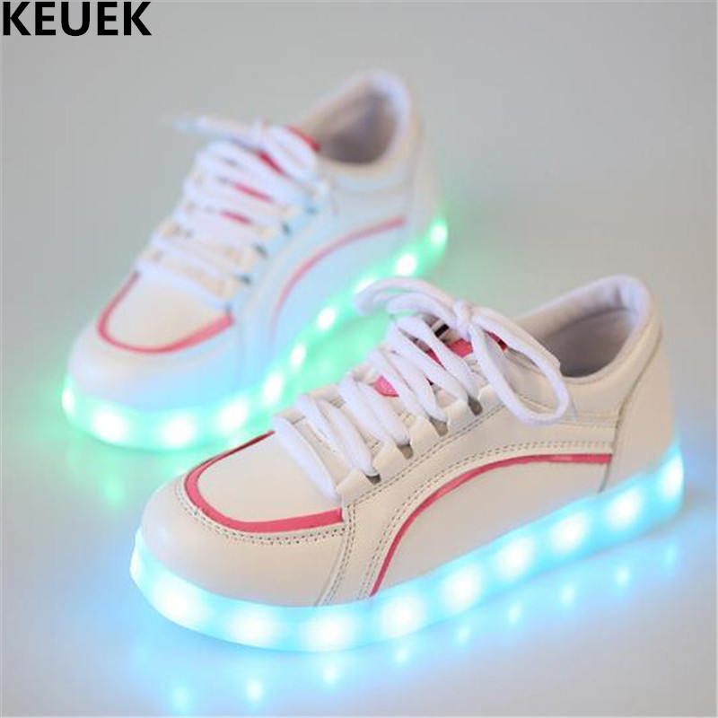 New Children Glowing Sneakers Baby Lighted Light Shoes Toddler LED Charging USB Luminous Shoes Boys Girls Kids Leather Shoes 03 2018 new kids glowing sneakers with light spiderman usb charging luminous lighted sneakers boy girls colorful led children shoes