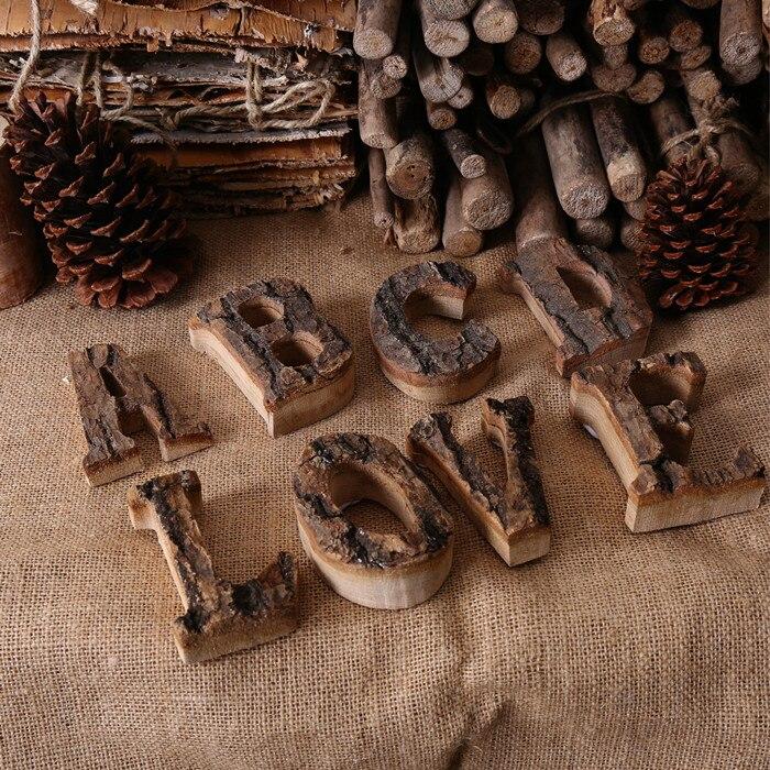Alphabet:  Together with bark solid wood retro wooden English letters alphabet number for cafeteria bar home decoration vintage DIY letter - Martin's & Co