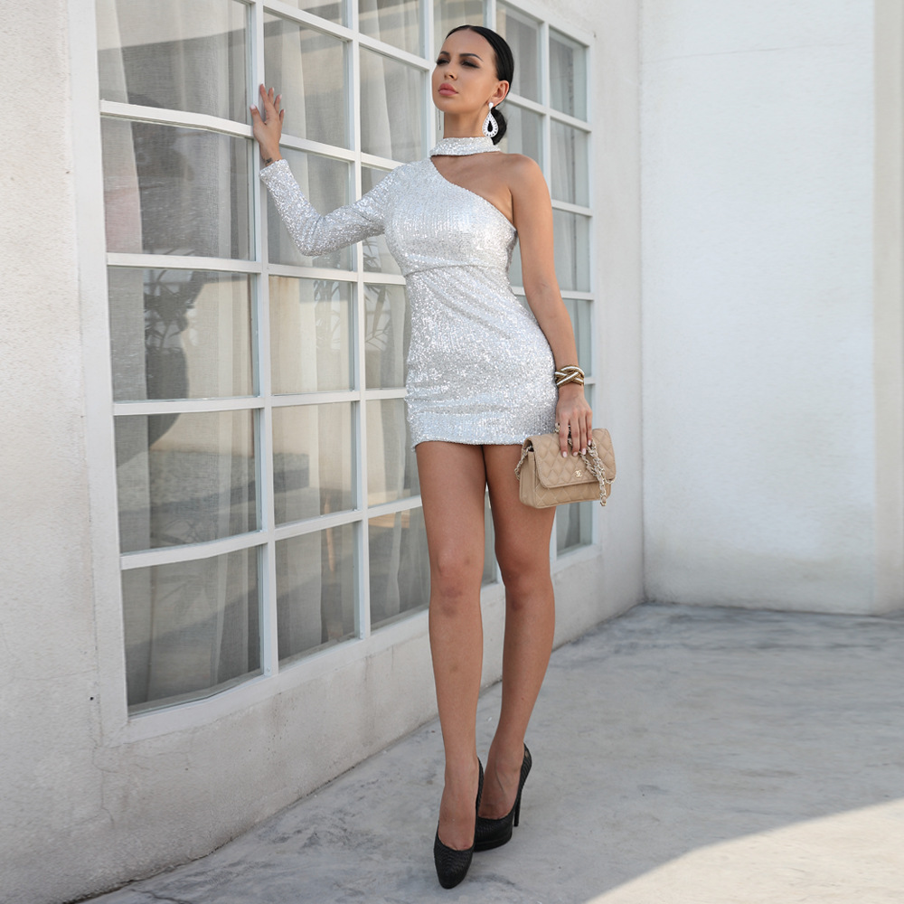 2019 Europa y América sexy sin tirantes de una manga irregular collar bolsa cadera corto sexy mini vestido - 3