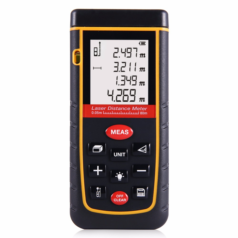 ФОТО Lumiparty 80M Digital Laser Distance Meter Handy Distance Measurement Range Finder Meter Tape with Mute Function Removable Clip