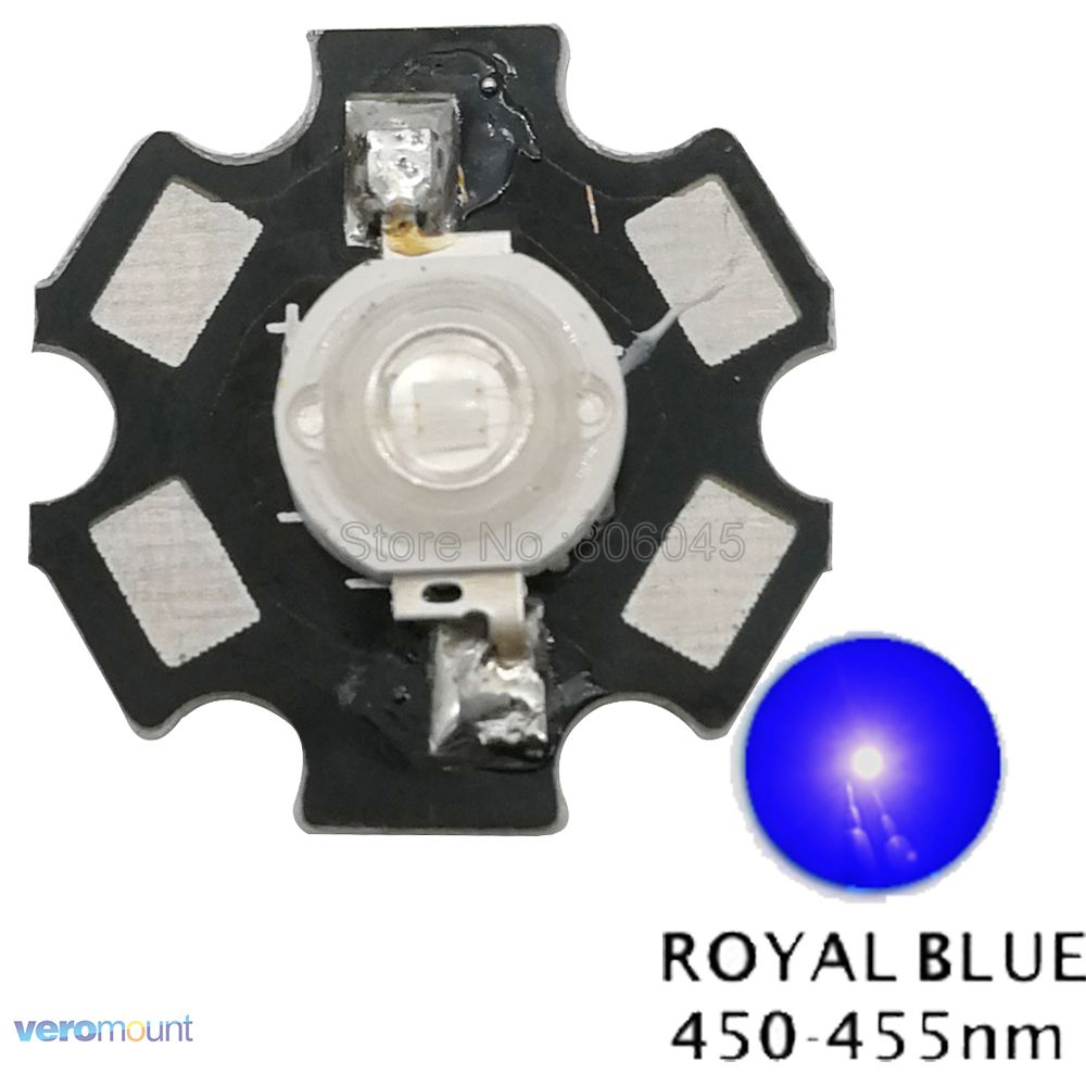 50PCS 3W Royal Blue High Power LED Emitter 700mA 450-455NM with 20mm Star PCB