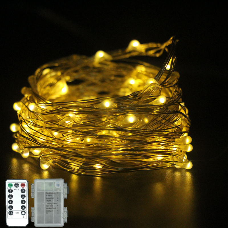 5 M/10 M LED String Light Christmas Decoration Waterproof Copper Wire Fairy Light AA Battery Powered 8 Mode  With Remote Control