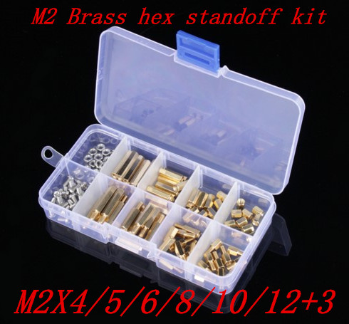180pcs/lot M2X4/5/6/8/10/12+3  M2 Hex Nut Spacing Screw Brass Threaded Pillar PCB Motherboard Standoff Spacer Kit 50pcs m4 l 6mm copper brass pillars standoff circuit spacer pcb board nut screws hex round single cylinder head